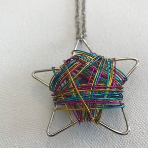 Wire Wrapped Rainbow Star Necklace VTG Never Worn